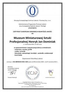 Muzeum Dominiak - CERTYFIKAT EUROPEJSKA GWARANCJA NAJWYŻSZEJ JAKOŚCI - EGNJ 2020 -1