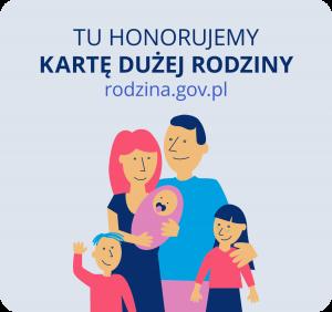 Tablica informacyjna z nazwą placówki ze stali nierdzewnej neno KDR polska rodzina, zniżki