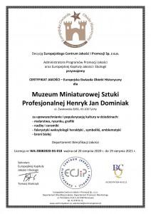 Muzeum Dominiak CERTYFIKAT JAKOŚCI - Europejska Gwiazda Obiekt Historyczny EG 2020 (1)-1