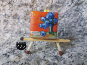 Chabry polne obraz olejny na płytce ceramicznej 2,31 cm x 2,31 cm kreator Paweł Brodzisz 2017