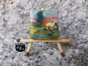 Chatka w Bieszczadach obraz olejny na płytce ceramicznej 2,31 cm x 2,31 cm arcymistrz Paweł Brodzisz 2017