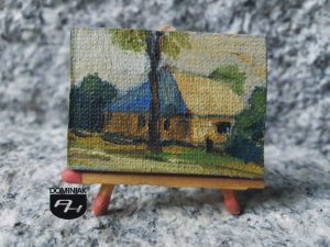 Dom Zajezdny obraz olejny 4 cm x 3 cm autor Paweł Brodzisz 2013