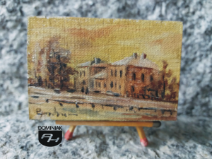 Dworzec Wiedeński początek XX obraz olejny 6,08 cm x 4,03 cm autor Paweł Brodzisz 2013