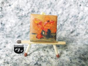 Gerbery obraz olejny na płytce ceramicznej 2,31 cm x 2,31 cm tytan Paweł Brodzisz 2017