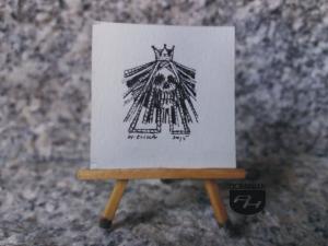 Królowa rysunek tuszem 3,50 cm x 3,50 cm autor Wojtek Łuka 2015