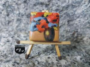 Lilie obraz olejny na płytce ceramicznej 2,31 cm x 2,31 cm ekspert Paweł Brodzisz 2017