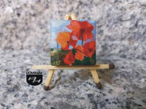 Maki w wazonie obraz olejny na płytce ceramicznej 2,31 cm x 2,31 cm wielki talent Paweł Brodzisz 2017
