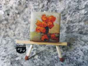 Róże obraz olejny na płytce ceramicznej 2,31 cm x 2,31 cm ulubieniec muz Paweł Brodzisz 2017