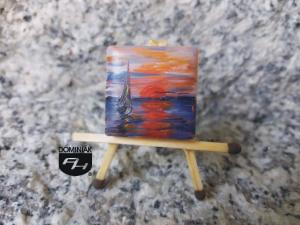 Solina obraz olejny na płytce ceramicznej 2,31 cm x 2,31 cm wielki talent Paweł Brodzisz 2017