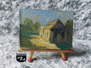 Synagoga w Łęcznej obraz olejny 4 cm x 3 cm autor Paweł Brodzisz 2014