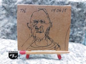 Tomas Niklasson självporträtt rysunek tuszem 4,51 cm x 3,94 cm autor Tomas Niklasson 2015