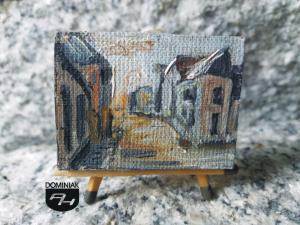 Ulica Nowokościelna w Łęcznej obraz olejny 4 cm x 3 cm autor Paweł Brodzisz 2013