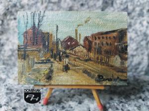 Widok z Dąbrowy Główna ulica z 1899 r. obraz olejny 6,00 cm x 4,06 cm autor Paweł Brodzisz 2013
