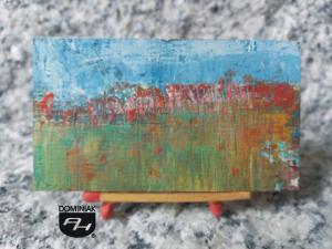 Wiejska zabudowa obraz olejny 7,09 cm x 3,96 cm autor Robert Marek Znajomski 2012