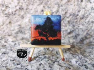 Zachód Słońca obraz olejny na płytce ceramicznej 2,31 cm x 2,31 cm wykonawca Paweł Brodzisz 2017