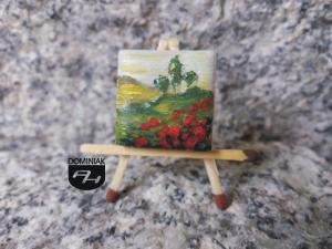 Maki obraz olejny na płytce ceramicznej 2,31 cm x 2,31 cm specjalista Paweł Brodzisz 2017