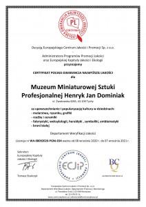 Muzeum Dominiak - CERTYFIKAT POLSKA GWARANCJA NAJWYŻSZEJ JAKOŚCI - PGNJ 2020 -1