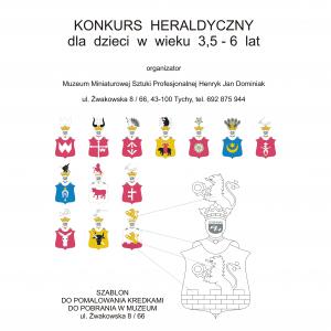 Plakat Konkurs Heraldyczny dla dzieci 3,5 -6 lat malujemy kredkami poznajemy herby szlacheckie i historię Polski