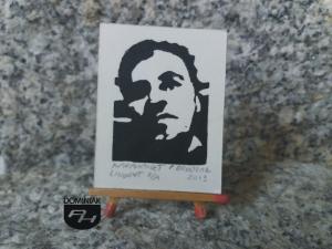 Autoportret P. Brodzisz linoryt 3 cm x 4 cm autor Paweł Brodzisz 2013