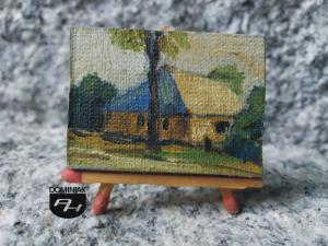 MAL33 Dom Zajezdny wizja przypominająca jarmarki w powiecie łęczyńskim Dom Zajezdny obraz olejny 4 cm x 3 cm autor Paweł Brodzisz 2013