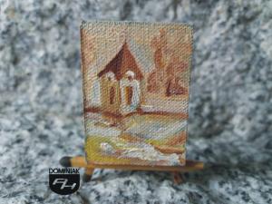Dzwonnica w Łęcznej obraz olejny 3 cm x 4 cm autor Paweł Brodzisz 2013