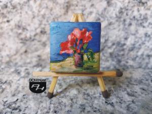 Gwiazda betlejemska obraz olejny na płytce ceramicznej 2,31 cm x 2,31 cm geniusz Paweł Brodzisz 2017