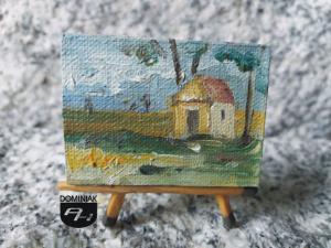 Kapliczka w Łęcznej obraz olejny 3 cm x 4 cm autor Paweł Brodzisz 2014