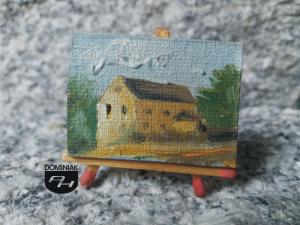 MAL31 Młyn w Łęcznej na rzece Śwince pochodzący z 1906 Młyn w Łęcznej obraz olejny 4 cm x 3 cm autor Paweł Brodzisz 2014
