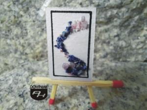 Mgła obraz kolaż mieszanka rubin Madagaskar lapis lazuli Afganistan papier 20 x 32 mm artysta plastyk Anna Januszewicz Pitlok 2021