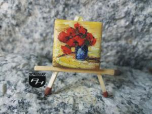 Pąsowe róże obraz olejny na płytce ceramicznej 2,31 cm x 2,31 cm plastyk Paweł Brodzisz 2017