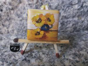 Podkarpackie słoneczniki obraz olejny na płytce ceramicznej 2,31 cm x 2,31 cm mistrz Paweł Brodzisz 2017