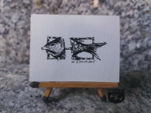 Ryba czarny tusz kompozycja artysty miasta na prawach powiatu Tychy Ryba rysunek tuszem 4,65 cm x 3,40 cm autor Wojtek Łuka 2015