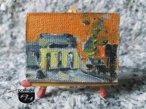 MAL12 Synagoga w Łęcznej 2013 maciupci wytwór łęczyńskiego praktyka regionalisty Synagoga w Łęcznej obraz olejny 4 cm x 3 cm autor Paweł Brodzisz 2013
